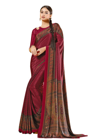Red Color Crepe Mix and  Match Saree  - divine-7602b