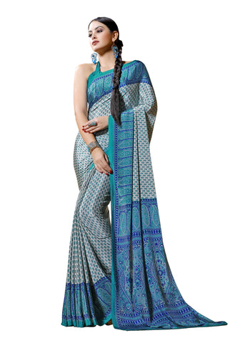 Blue Color Crepe Mix and  Match Saree  - divine-7603a