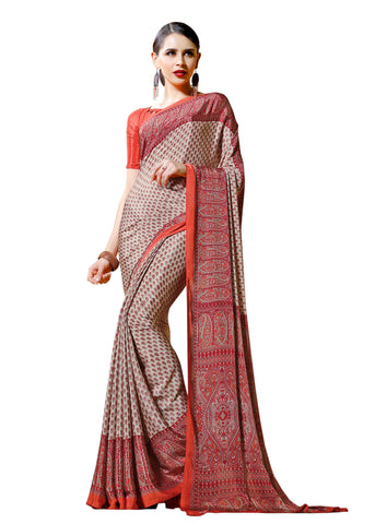 Red Color Crepe Mix and  Match Saree  - divine-7603b