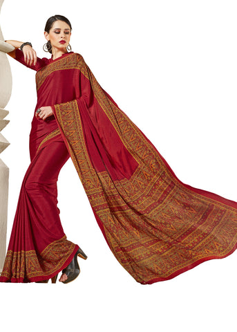 Red Color Crepe Mix and  Match Saree  - divine-7604a