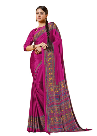 Pink Color Crepe Mix and  Match Saree  - divine-7604b