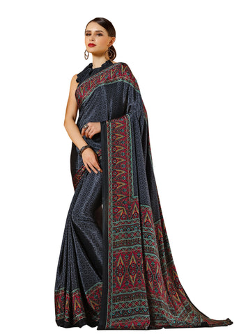 Black Color Crepe Mix and  Match Saree  - divine-7604c