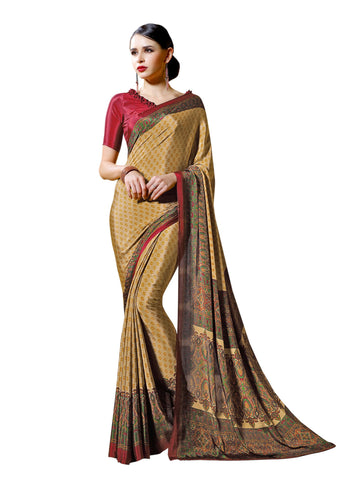 Copper Color Crepe Mix and  Match Saree  - divine-7605a