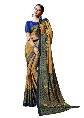 Copper Color Crepe Mix and  Match Saree  - divine-7605b