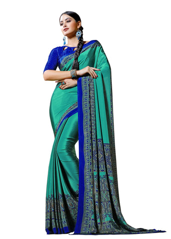 Green Color Crepe Mix and  Match Saree  - divine-7606a