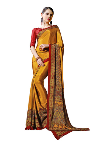 Brown Color Crepe Mix and  Match Saree  - divine-7606b