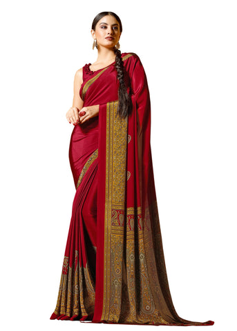 Red Color Crepe Mix and  Match Saree  - divine-7607a