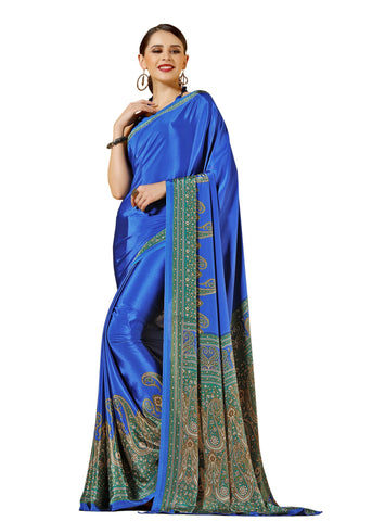 BlueColor Crepe Mix and  Match Saree  - divine-7607b