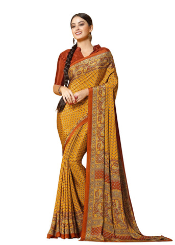 Brown Color Crepe Mix and  Match Saree  - divine-7608a