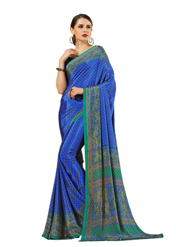 Blue Color Crepe Mix and  Match Saree  - divine-7608b