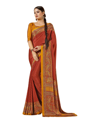 Red Color Crepe Mix and  Match Saree  - divine-7608c