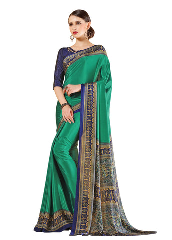 Green Color Crepe Mix and  Match Saree  - divine-7609a
