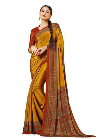 Brown Color Crepe Mix and  Match Saree  - divine-7609b
