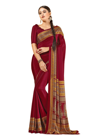 Red Color Crepe Mix and  Match Saree  - divine-7610a