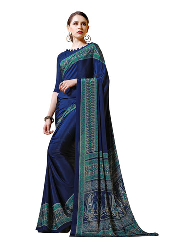 Blue Color Crepe Mix and  Match Saree  - divine-7610b