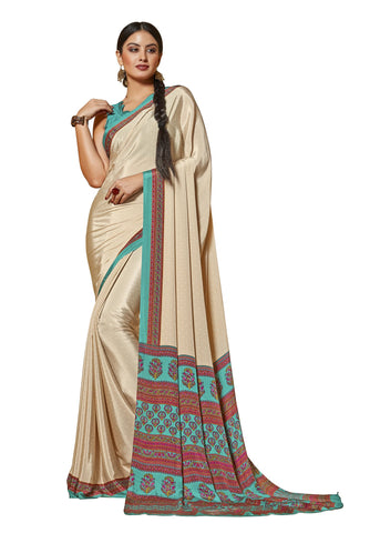 White Color Crepe Mix and  Match Saree  - divine-7611a