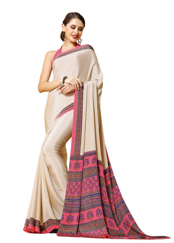 White Color Crepe Mix and  Match Saree  - divine-7611b
