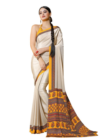 White Color Crepe Mix and  Match Saree  - divine-7611c