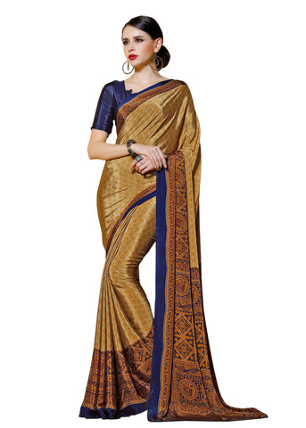 Copper Color Crepe Mix and  Match Saree  - divine-7612a