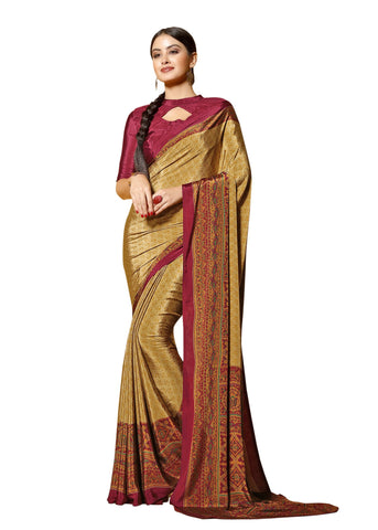 Copper Color Crepe Mix and  Match Saree  - divine-7612b