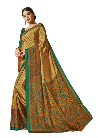 Green Color Crepe Mix and  Match Saree  - divine-7612c