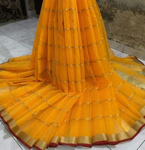 Yellow Color Cotton Silk Saree - doriya-15