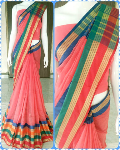 Pink Color Cotton Saree - doriya-pinkgreen