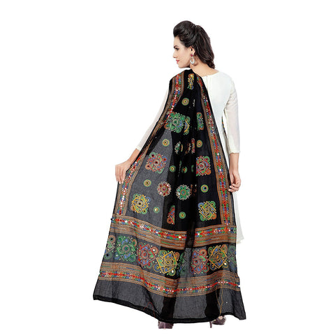 Black Color Cotton Women's Dupatta - dpblack