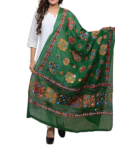 Green Color Cotton Women's Dupatta - dpgreen