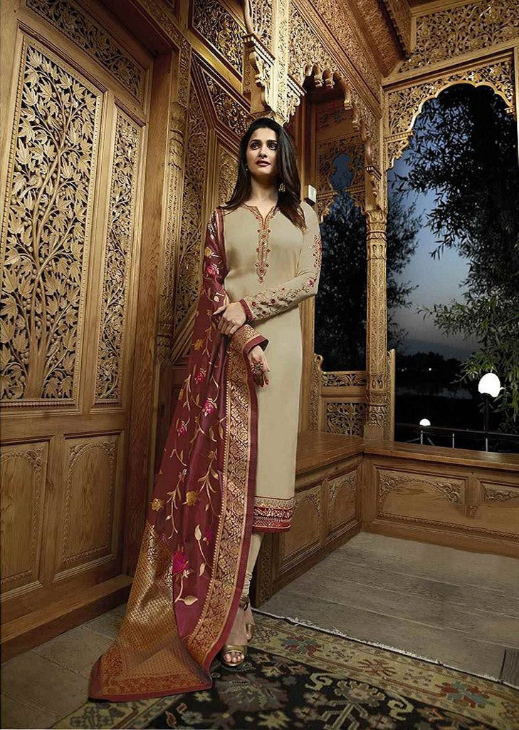 Buy Beige Color Georgette Semi-Stitched Salwar