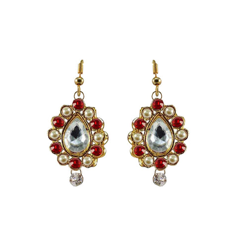 Multi Color Stone Stud-Gold Platted Brass Earring - ear461