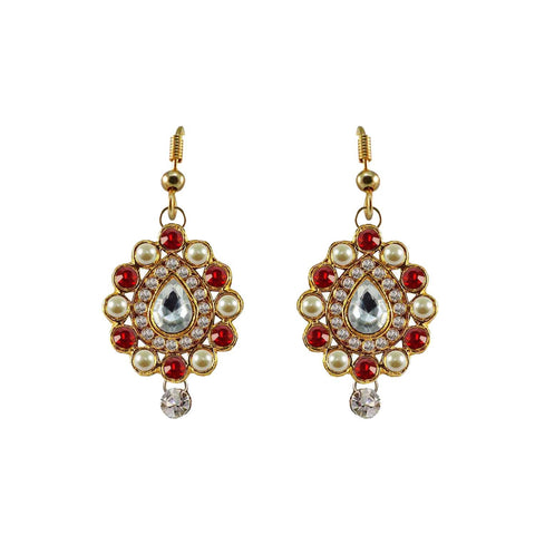 Multi Color Stone Stud-Gold Platted Brass Earring - ear463