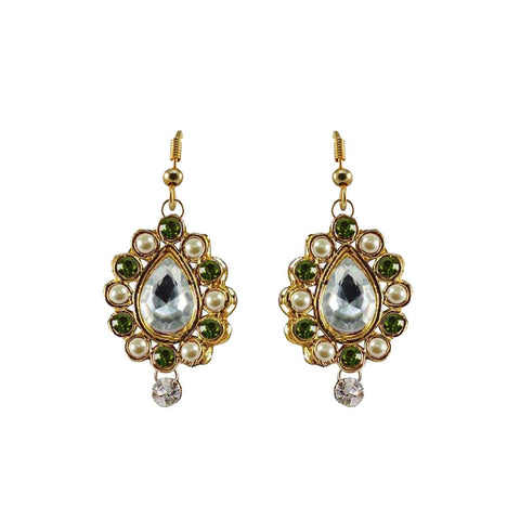 Multi Color Stone Stud-Gold Platted Brass Earring - ear465