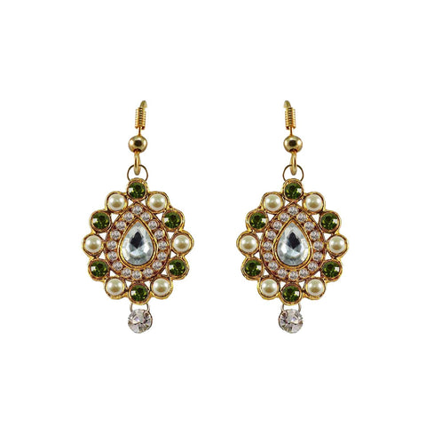 Multi Color Stone Stud-Gold Platted Brass Earring - ear467