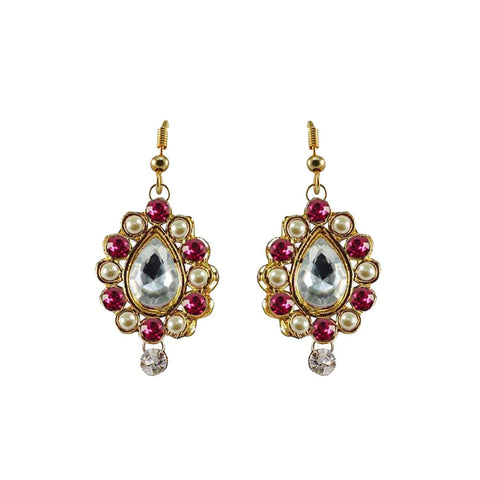 Multi Color Stone Stud-Gold Platted Brass Earring - ear469
