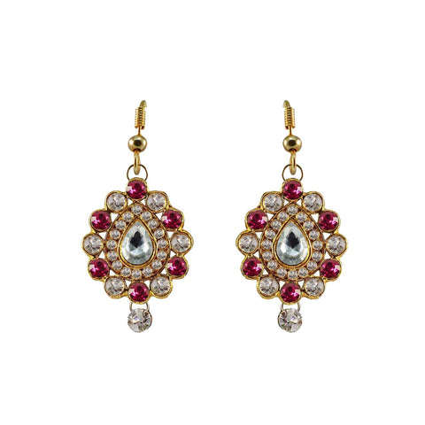 Multi Color Stone Stud-Gold Platted Brass Earring - ear470