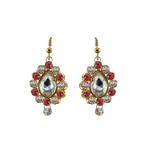 Multi Color Stone Stud-Gold Platted Brass Earring - ear472