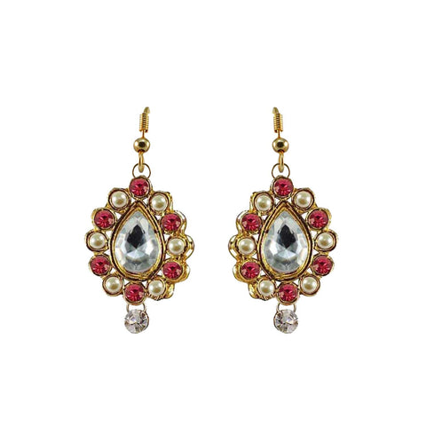 Multi Color Stone Stud-Gold Platted Brass Earring - ear473