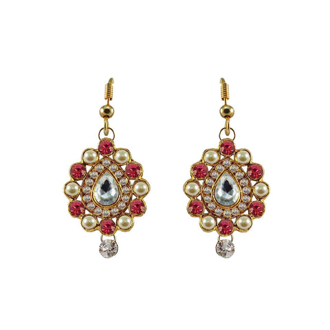 Multi Color Stone Stud-Gold Platted Brass Earring - ear475