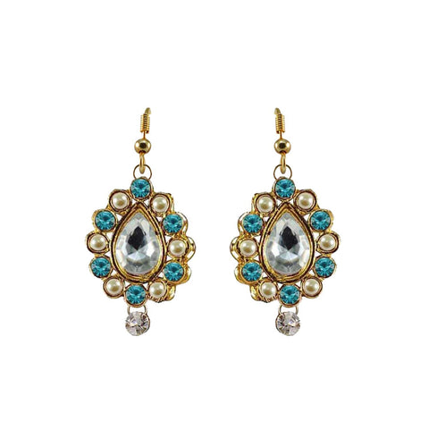Multi Color Stone Stud-Gold Platted Brass Earring - ear477
