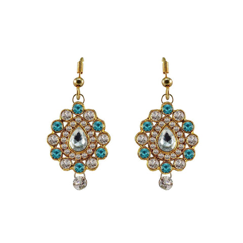 Multi Color Stone Stud-Gold Platted Brass Earring - ear478