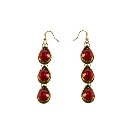 Red Color Brass Stone Stud-Gold Platted Ear Rings - ear603