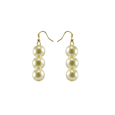 White Color Brass Moti-Gold Platted Ear Rings - ear609
