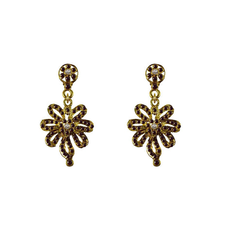 Golden Color Brass Stone Stud-Gold Platted Ear Rings - ear653
