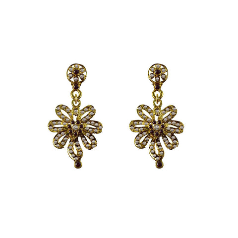 Golden Color Brass Stone Stud-Gold Platted Ear Rings - ear655