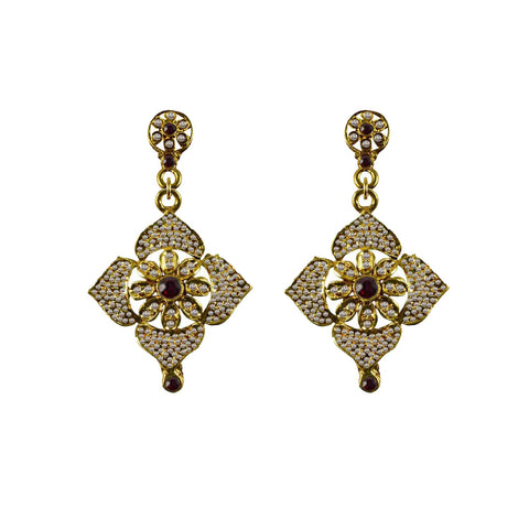Golden Color Brass Stone Stud-Gold Platted Ear Rings - ear658