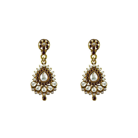 Golden Color Brass Stone Stud-Gold Platted Ear Rings - ear662