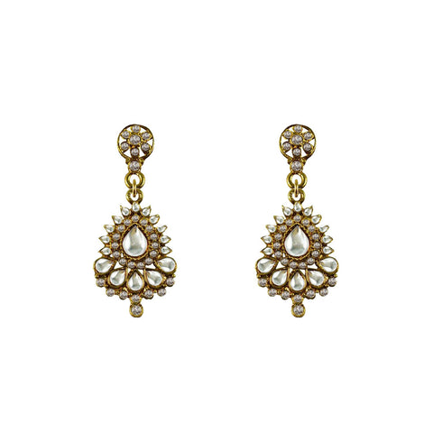 Golden Color Brass Stone Stud-Gold Platted Ear Rings - ear663