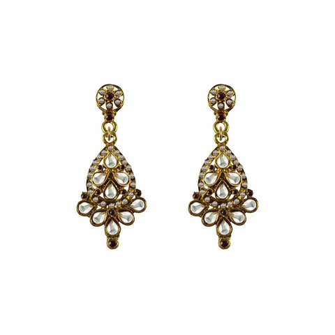 Golden Color Brass Stone Stud-Gold Platted Ear Rings - ear664