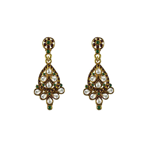 Golden Color Brass Stone Stud-Gold Platted Ear Rings - ear668